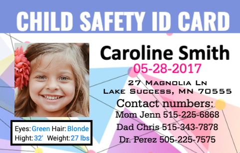 Child Personal ID Card