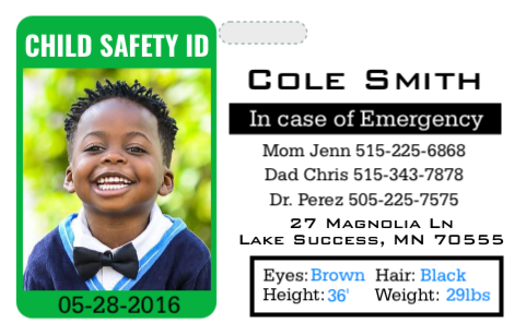 Child safety ID card