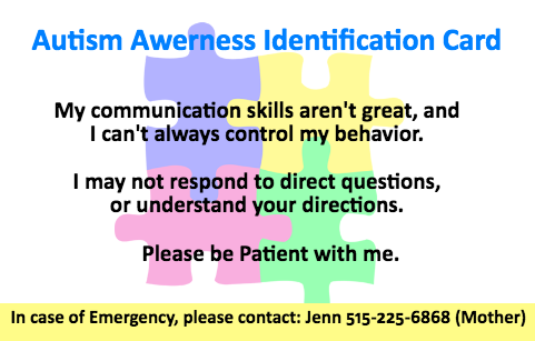 Back of Autism Safety Information Card